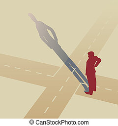 At the crossroads - Vector illustration of a man standing at...