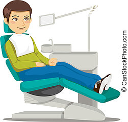 At the Dentist - Young man sitting on the dentist chair ...