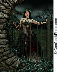 At the Gate - 3d computer graphics of a woman with a gothic...