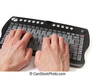 At the keyboard