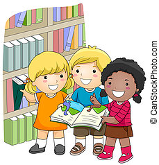 At the Library - A Small Group of Kids Checking Books in the...