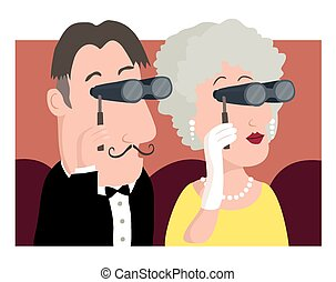 At the opera - A cartoon image of a posh couple at the...