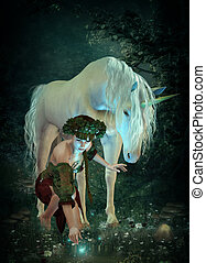At the Pond - a girl and a unicorn watching fireflies at a...