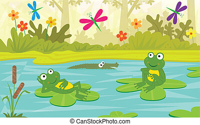 Two cute frogs are sitting on water lilies and looking at colorful dragonflies. Eps10