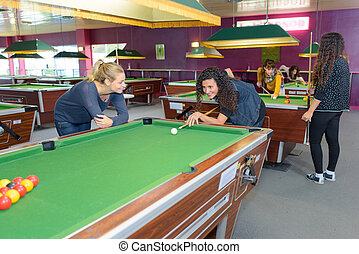 at the pool hall