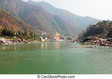 At the river Ganges near Laxman Jhula in India
