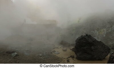 At the top of active volcano Mutnovsky stock footage video