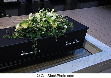 ataúd, funeral, flores