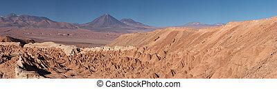 Atacama Desert and volcanoes panorama, Chile