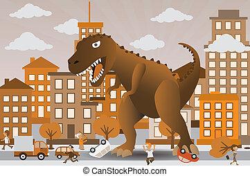 atacar, cidade, dinossauro