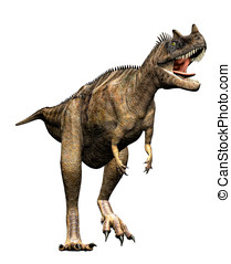 atacar, dinossauro, ceratosaurus