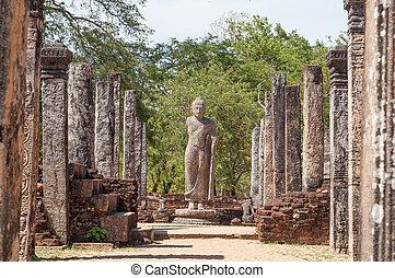 Atadage in ancient city of Polonnaruwa, Sri Lanka. The Atadage was built by King Vijayabahu I to house the sacred tooth relic of Buddha.