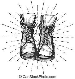 atado, viajar, botas, excursionismo