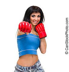 atak, kobieta, boks, odizolowany, na, niejaki, białe tło
