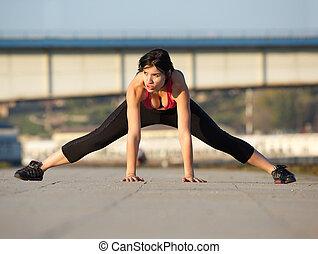 atak, młoda kobieta, rozciąganie, mięśnie, outdoors