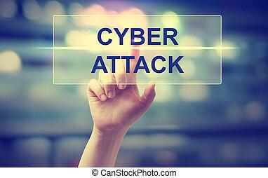 ataque, apertando, cyber, mão