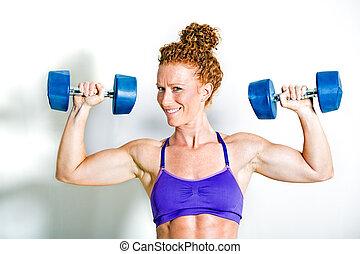 ataque, atleta, arriba, pesas, tenencia, dumbbell