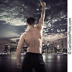 ataque, atleta, encima, la ciudad, plano de fondo