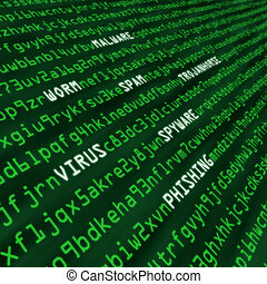 ataque, código, métodos, cyber