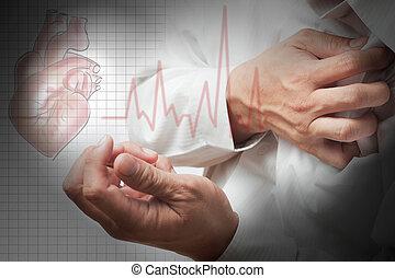 ataque cardíaco, y, corazón, golpes, cardiograma, plano de...