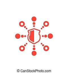ataque, cyber, vector, icono, ddos, blanco