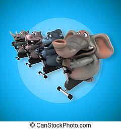 ataque, hipopótamo, -, ilustración, gorila, rinoceronte, elefante, 3d