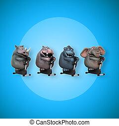 ataque, hipopótamo, rinoceronte, elefante, y, gorila, -, 3d, ilustración