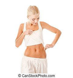 ataque, mujer, medición, grasa, nivel, en, ella, cintura
