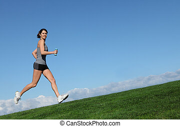 ataque, mujer sana, afuera, corriente, o, jogging