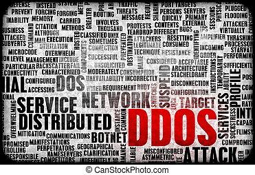 ataque, negação,  distributed,  ddos, Serviço