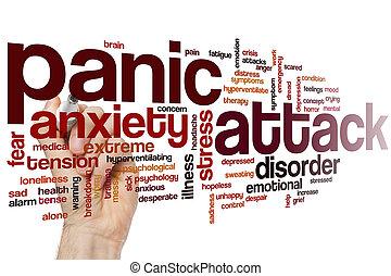 ataque pânico, palavra, nuvem