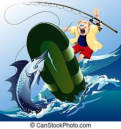 ataque, peixe-espada