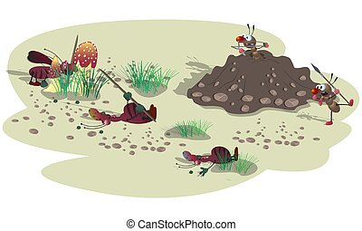 ataque, pequeno, listrado, anthill., caricatura, baratas, mal, illustration., fight., cena, formigas