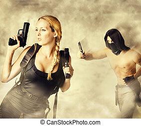 ataques, guerreira, mulher, macho, assassino