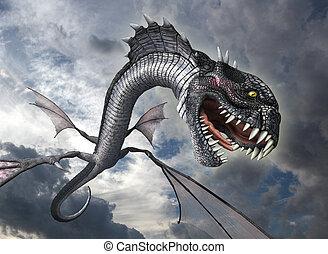 ataques, serpiente, dragón