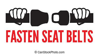 atar, icono, asiento, su, cinturones