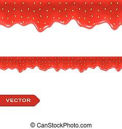 atasco, border., seamless, drips., fresa, vector
