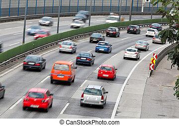 atasco, en, tráfico, con, coches, en, un, carretera, stras