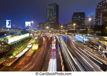 atasco, hong kong, tráfico, noche