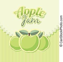 atasco, manzana, retro, etiqueta