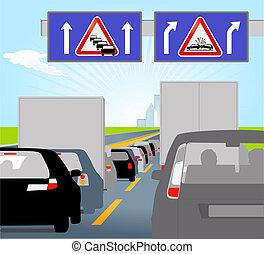 atasco, tráfico, baja