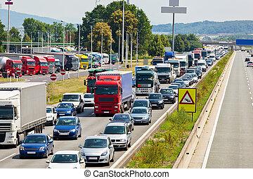 atasco, tráfico, carretera