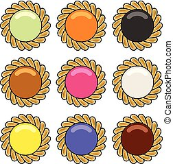 atasco, vector, conjunto, pastel, chocolate