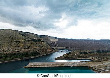Ataturk Dam on the Euphrates River in Anatolia, Turkey.