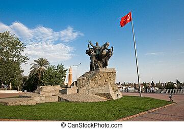 Ataturk, the founder of the Turkish Republic has many monuments along Antalya.