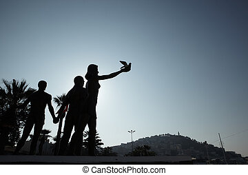 Monument of Ataturk and Youth, Kusadasi, Turkey. The monument signifies peace and hope