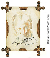 Mustafa Kemal Atat?rk, father of modern Turkey: portrait with signature on camel skin stretched on wooden frame isolated on white background