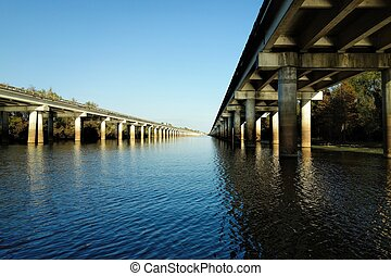 atchafalaya, pont, bassin, bayou