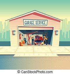 atelier, équipage, voiture, vecteur, mécanicien, dessin animé