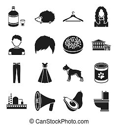 Atelier, appearance and other web icon in black style. architecture, food, clothing icons in set collection.